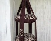 Cat Bed, Leopard Print Fleece, Kitty Cloud, Double Hanging Cat Bed, Pet Furniture, Pet Bed, Cat Gift
