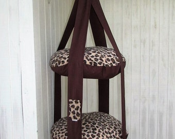Cat Bed, Fleece Leopard Print Kitty Cloud, Double Hanging Cat Bed, Pet Furniture, Pet Bed, Cat Gift