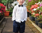 Baby Toddler Boys natural Linen Dress Shirt classic formal White Baptism Christening wedding roll up sleeves 12-18-24 months 2T 3T 4T 5 6
