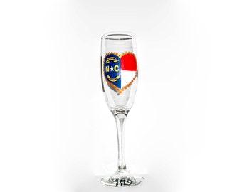 Handpainted Champagne Flutes of Your State Flag or States Set of 2 Personalized State Flag Toasting Glasses Custom Made Wine Glasses