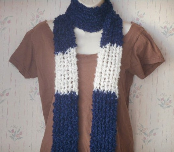 SALE  blue and white knit scarf color block scarf boho fashion scarf by PeaceStitchStudio