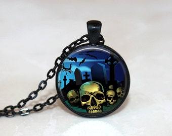 Halloween Necklace Glass Tile Necklace Halloween Jewelry Glass Tile Jewelry Holiday Jewelry Zombie Jewelry Black Jewelry