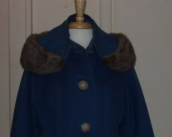 Vintage Blue Wool Coat with Genuine Fur Collar Lrg Buttons 1950s 1960s