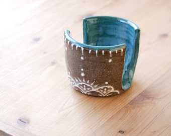 Sponge Holder in Teal & Chocolate, Iced Gingerbread Collection,  Kitchen Decor, Wheel Thrown Pottery, Giselle No. 5 Ceramics