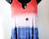 Custom Listing for Jennifer H. Sz. XXL JULY 4th Red, White & Blue Tie Dye Tank Top w/ Stars and Rhinestones