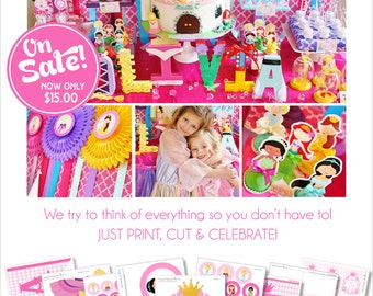 Princess Party Printable | Princess Birthday Party | Princess Party Decorations | Instant Download | Cinderella | Rapunzel | Amandas Parties