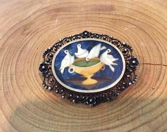 Amazing Rare Pietra Dura Micro Mosaic Dove Victorian Birdbath Brooch