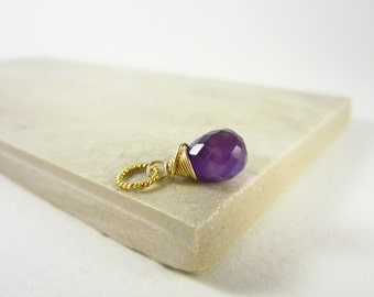 Sm - Dark Purple Amethyst Gemstone Charm - Natural Amethyst Pendant - 14k Gold Charms - Amethyst Birthstone Jewelry - Wire Wrapped Gemstone