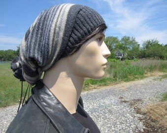 Big Oversized Tam Tie Back Slouchy Beanie Men's Bohemian Clothing Cotton Wool Slouch Hat Striped Charcoal Gray Baggy Extra Long A1575