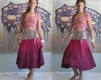 Reserved for Jilske - Summer Fruits Raw Silk Handwoven Below Knee Midi Wrap Skirt  - Raspberry Asymmetrical Hem