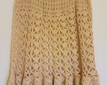 Vintage 1970's ecru crocheted skirt