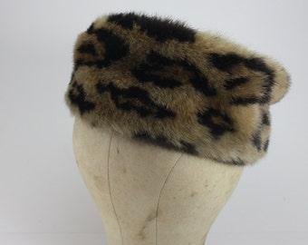 Vintage Faux Leopard Hat Pill Box  1960s Mad Men