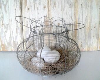 Vintage Large Wire Egg Basket, Antique Egg Basket, Wire Basket, Primitive Egg Basket, Farmhouse Basket