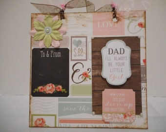 6 x 6 Wedding Little Girl to Mom & Dad Chipboard Wall Hanging