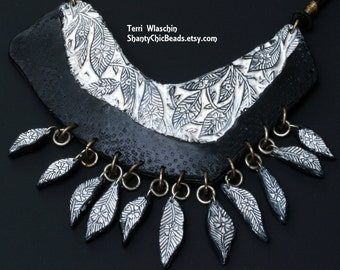 Polymer Clay Handmade Necklace - Bib Style Black and White Faux Leather Floral with Leaves