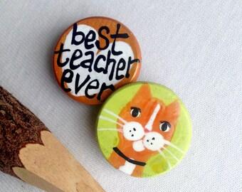 BEST TEACHER EVER Cat magnet set orange tabby turquoise hand painted