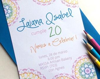 Rainbow Mandala Party Collection by Fara Party Design- Printable 5 x7  Invitation
