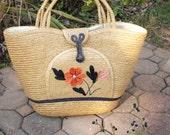 Jumbo Beach Bag, Vintage Woven Straw Handbag, Summer Beach Purse