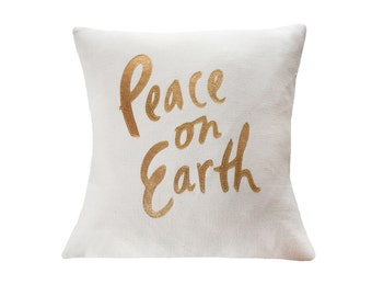 Peace on Earth Pillow, Cream and Gold