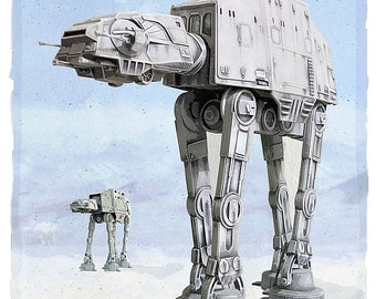 Star Wars -Imperial Walkers - aka AT-AT  8x10, 11x14 or 16x20 print - Starwars poster - Ice Planet Hoth - Star Wars print - Star Wars art