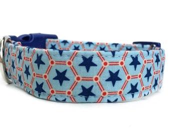 Star Dog Collar / Red White Blue Dog Collar / Patriotic Dog Collar / 4th of July dog collar / red blue dog collar / geometric dog collar