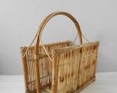 mid century modern bamboo wicker boho magazine rack / basket storage / rattan holder