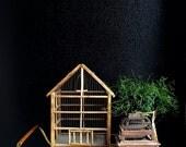 vintage old wooden metal wire birdcage / birdhouse