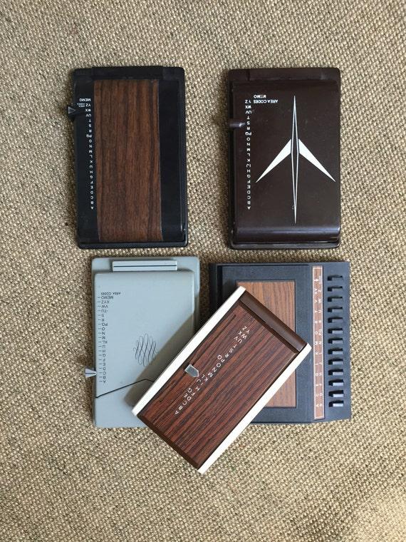 vintage retro metal office address book / phone book / list finder / flip book / brown / gray