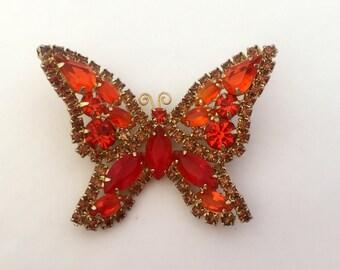 Vintage Juliana, D & E Orange Rhinestone Butterfly Brooch Juliana Jewlery