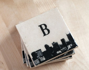 City Skyline Coaster Set with Letter (Custom Text & Colors) Personalized Cityscape Stone Coasters