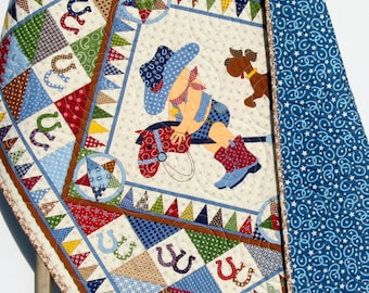 Cowboy Quilt, Western Bandana, Boy Blanket, Country Blue Brown Yellow, Crib Bedding, Nursery Decor, Crib Cot Stars Horseshoes Stick Horse