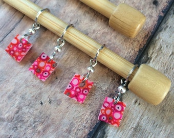 Hand Drawn Pink Bubbles Zentangle Knitting Stitch Markers - Set of 4 shrink shrinky dink