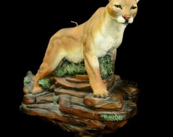 Fine Detailed Mountain Lion Puma Cougar  on Rock Painted Wildlife Candle Statue