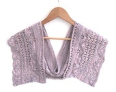 Silk Crescent shaped shawl , hand knit lilac scarf , wedding accessory , gift for her , bridal wear , knitted silk neck wear , unique design