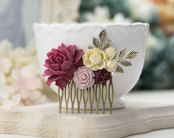 Marsala Wedding Hair Comb Plum Maroon Burgundy Dusty Pink Flower Antiqued Gold Leaf Branch Bridal Hair Comb Bridesmaid Gift Country Wedding