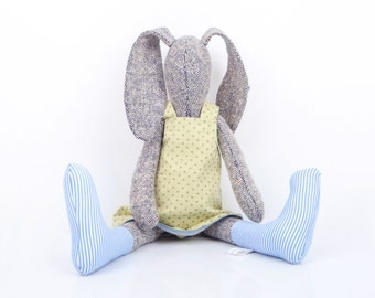 Easter basket toy Stuffed bunny doll, gray knitted silk rabbit doll  in Sage dress & light blue socks, softie stuffed toy baby shower gift