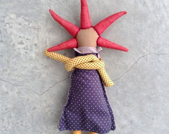 OOAK Modern Fabric Doll, brown rag doll with cool Bourdeaux spikes haircut ,Dressed in shades of navy blue & mustard. timohandmade eco doll