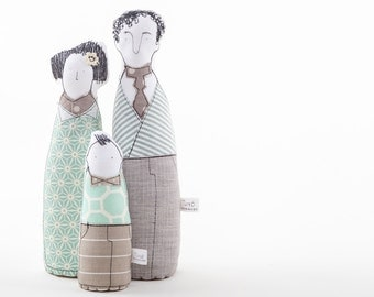 Family Portrait dolls - Parents & boy dolls, handmade soft sculpture dolls ,3-D family portrait , likeness dolls , look alike cloth dolls