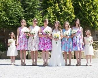 Bridesmaid dress Pastel Blue Roses, floral dress, cotton dress, party dress, 50's dress, mad men dress CUSTOM MADE