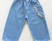SALE - Baby Boy Pants, Side Pocket Baby Pants, Light Blue Sweatpants for Baby Boy