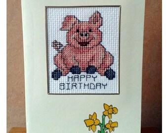 Pig Birthday Card in Cross Stitch (7060)