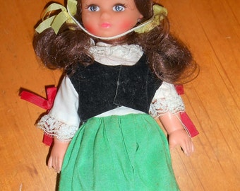 Vintage Souvenir Hard Plastic Doll - Made in Hong Kong