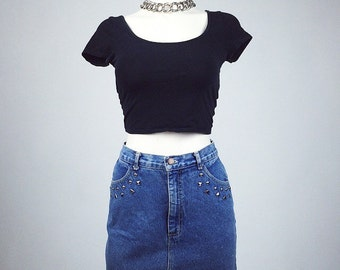90's Studded Grunge Denim Vintage Washed Out High Waisted Mini Skirt // S