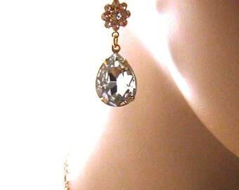 Clear Crystal Earrings, Gold Swarovski Earrings, Bridesmaid Earrings, Crystal Wedding Jewelry, Color Choices