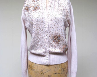 Vintage 1960s Sweater / 60s Fancy Beige Beaded Sequin Applique Cardigan / Medium