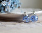 Mother's Day jewelry, Forget me not earrings floral earrings nature inspired jewelry, real flower jewelry, gift for a woman, gift under 40