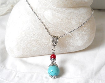 gypsy necklace bohemian necklace boho necklace turquoise necklace gemstone necklace stone jewelry bohemian jewelry turquoise red jewelry