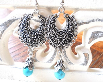 turquoise chandelier earrings turquoise dangle earrings turquoise earrings beaded silver and turquoise boho earrings gypsy earrings