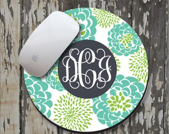 TEAL PEONY Personalized Mouse Pad, Personalize Mousepad, Monogrammed Mouse Pad, Monogrammed Mousepad, Custom Mouse Pad, Custom Mousepad