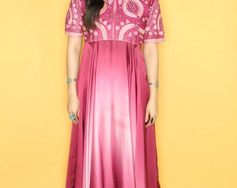 Vintage 80s Ethnic Indian Embellished Mirrored Ombre Maxi Dress